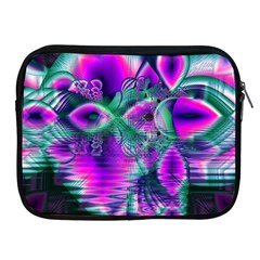 Teal Violet Crystal Palace, Abstract Cosmic Heart Apple Ipad Zippered Sleeve