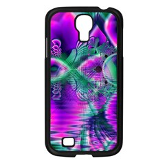 Teal Violet Crystal Palace, Abstract Cosmic Heart Samsung Galaxy S4 I9500/ I9505 Case (Black)