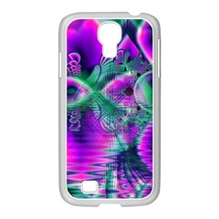 Teal Violet Crystal Palace, Abstract Cosmic Heart Samsung Galaxy S4 I9500/ I9505 Case (white)