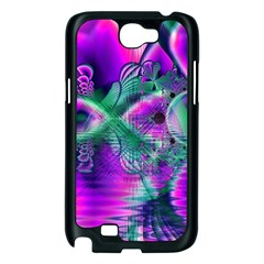 Teal Violet Crystal Palace, Abstract Cosmic Heart Samsung Galaxy Note 2 Case (Black)