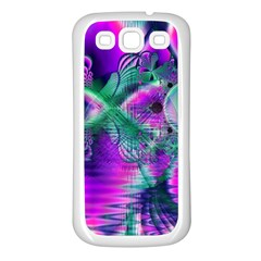 Teal Violet Crystal Palace, Abstract Cosmic Heart Samsung Galaxy S3 Back Case (White)