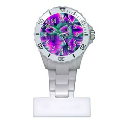 Teal Violet Crystal Palace, Abstract Cosmic Heart Nurses Watch