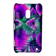 Teal Violet Crystal Palace, Abstract Cosmic Heart Nokia Lumia 620 Hardshell Case