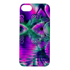 Teal Violet Crystal Palace, Abstract Cosmic Heart Apple iPhone 5S Hardshell Case