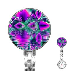 Teal Violet Crystal Palace, Abstract Cosmic Heart Stainless Steel Nurses Watch