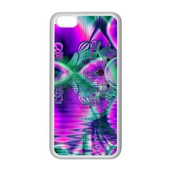 Teal Violet Crystal Palace, Abstract Cosmic Heart Apple iPhone 5C Seamless Case (White)