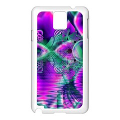 Teal Violet Crystal Palace, Abstract Cosmic Heart Samsung Galaxy Note 3 N9005 Case (White)