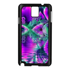 Teal Violet Crystal Palace, Abstract Cosmic Heart Samsung Galaxy Note 3 N9005 Case (Black)