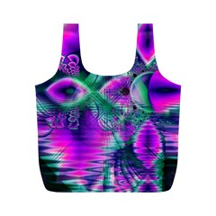 Teal Violet Crystal Palace, Abstract Cosmic Heart Reusable Bag (m)
