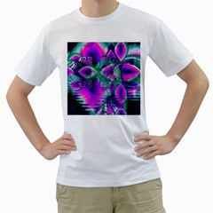 Teal Violet Crystal Palace, Abstract Cosmic Heart Men s T-Shirt (White)