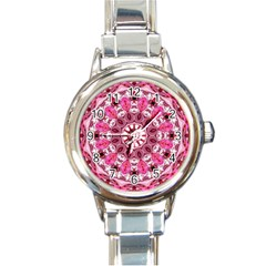 Twirling Pink, Abstract Candy Lace Jewels Mandala  Round Italian Charm Watch