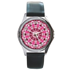 Twirling Pink, Abstract Candy Lace Jewels Mandala  Round Leather Watch (silver Rim)
