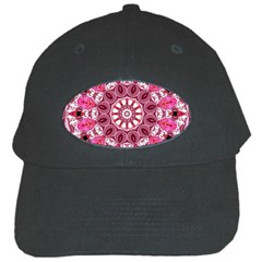 Twirling Pink, Abstract Candy Lace Jewels Mandala  Black Baseball Cap