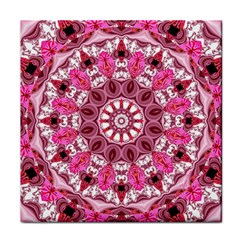 Twirling Pink, Abstract Candy Lace Jewels Mandala  Ceramic Tile