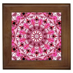 Twirling Pink, Abstract Candy Lace Jewels Mandala  Framed Ceramic Tile