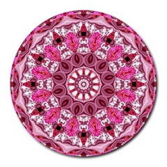 Twirling Pink, Abstract Candy Lace Jewels Mandala  8  Mouse Pad (round)