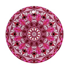 Twirling Pink, Abstract Candy Lace Jewels Mandala  Round Ornament