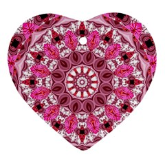 Twirling Pink, Abstract Candy Lace Jewels Mandala  Heart Ornament