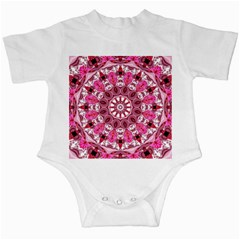 Twirling Pink, Abstract Candy Lace Jewels Mandala  Infant Bodysuit