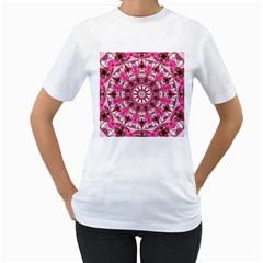 Twirling Pink, Abstract Candy Lace Jewels Mandala  Women s Two-sided T-shirt (White)