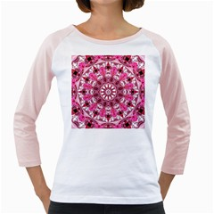 Twirling Pink, Abstract Candy Lace Jewels Mandala  Women s Long Cap Sleeve T Shirt (white)