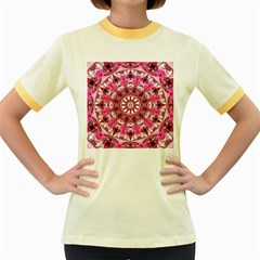Twirling Pink, Abstract Candy Lace Jewels Mandala  Women s Ringer T-shirt (Colored)