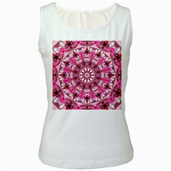 Twirling Pink, Abstract Candy Lace Jewels Mandala  Women s Tank Top (White)