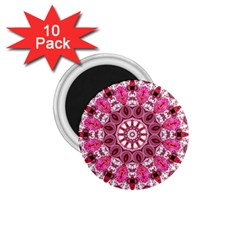 Twirling Pink, Abstract Candy Lace Jewels Mandala  1.75  Button Magnet (10 pack)