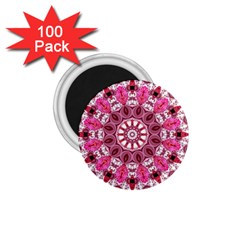 Twirling Pink, Abstract Candy Lace Jewels Mandala  1.75  Button Magnet (100 pack)