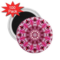 Twirling Pink, Abstract Candy Lace Jewels Mandala  2 25  Button Magnet (100 Pack)