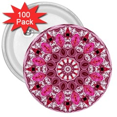 Twirling Pink, Abstract Candy Lace Jewels Mandala  3  Button (100 Pack)