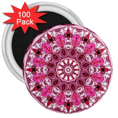 Twirling Pink, Abstract Candy Lace Jewels Mandala  3  Button Magnet (100 pack)