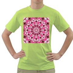 Twirling Pink, Abstract Candy Lace Jewels Mandala  Men s T Shirt (green)