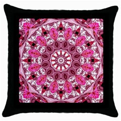 Twirling Pink, Abstract Candy Lace Jewels Mandala  Black Throw Pillow Case