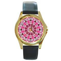 Twirling Pink, Abstract Candy Lace Jewels Mandala  Round Leather Watch (Gold Rim)