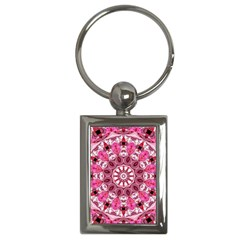 Twirling Pink, Abstract Candy Lace Jewels Mandala  Key Chain (rectangle)