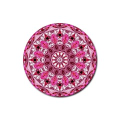 Twirling Pink, Abstract Candy Lace Jewels Mandala  Drink Coaster (Round)