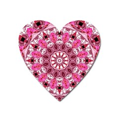 Twirling Pink, Abstract Candy Lace Jewels Mandala  Magnet (Heart)