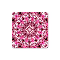 Twirling Pink, Abstract Candy Lace Jewels Mandala  Magnet (Square)