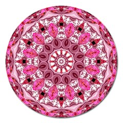 Twirling Pink, Abstract Candy Lace Jewels Mandala  Magnet 5  (round)