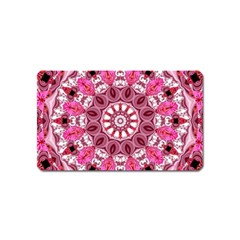 Twirling Pink, Abstract Candy Lace Jewels Mandala  Magnet (Name Card)