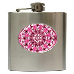 Twirling Pink, Abstract Candy Lace Jewels Mandala  Hip Flask