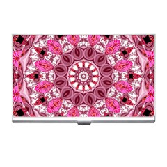 Twirling Pink, Abstract Candy Lace Jewels Mandala  Business Card Holder
