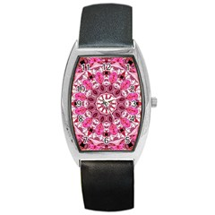 Twirling Pink, Abstract Candy Lace Jewels Mandala  Tonneau Leather Watch