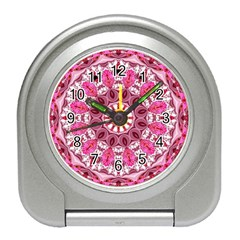 Twirling Pink, Abstract Candy Lace Jewels Mandala  Desk Alarm Clock