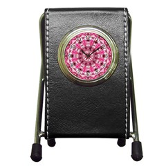Twirling Pink, Abstract Candy Lace Jewels Mandala  Stationery Holder Clock