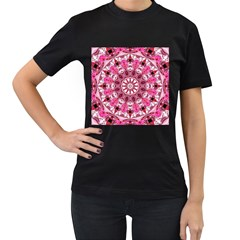 Twirling Pink, Abstract Candy Lace Jewels Mandala  Women s Two Sided T-shirt (Black)