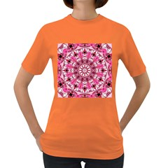 Twirling Pink, Abstract Candy Lace Jewels Mandala  Women s T Shirt (colored)