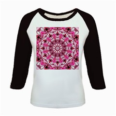 Twirling Pink, Abstract Candy Lace Jewels Mandala  Kids Long Cap Sleeve T-Shirt