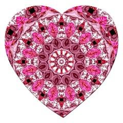 Twirling Pink, Abstract Candy Lace Jewels Mandala  Jigsaw Puzzle (heart)